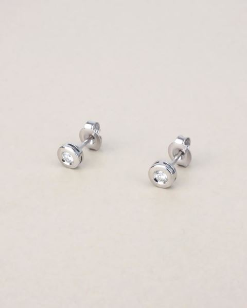 Foto de PENDIENTES ORO BLANCO 18K DIAMANTES 0,12CT